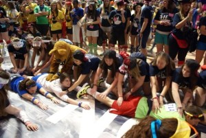 T2012 HON participants get massages from committee members and the Nittany Lion. Photo courtesy of Penn State Dance Marathon.